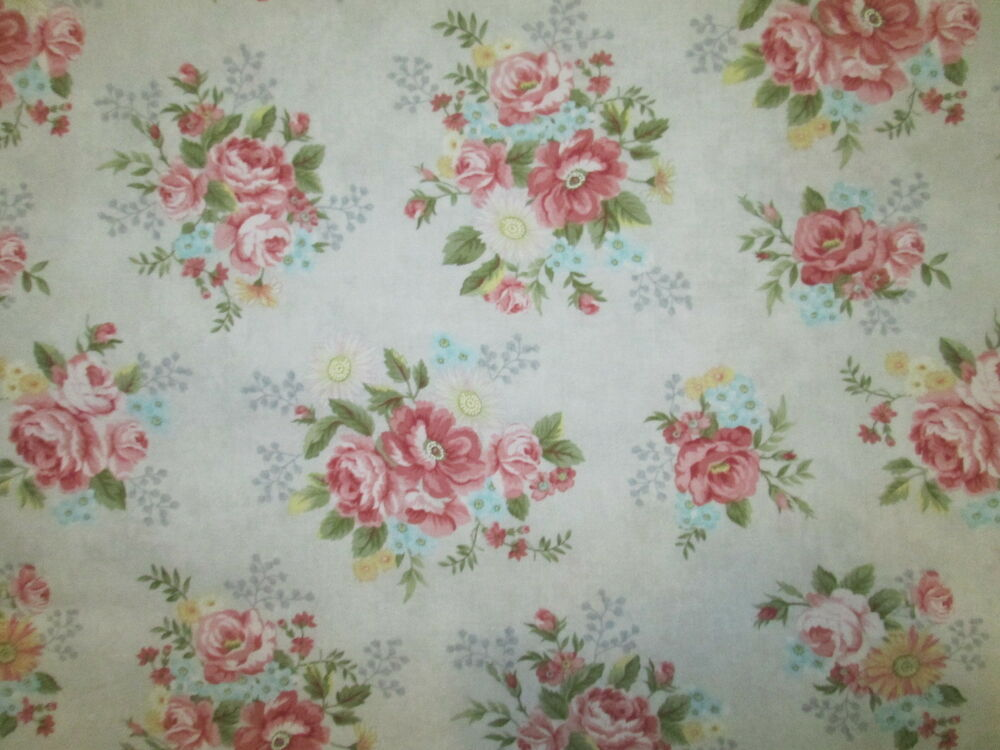JOSEPHINE ROSE - 100% COTTON FABRIC FLORAL ROSES SHABBY ... |Vintage Floral Fabric