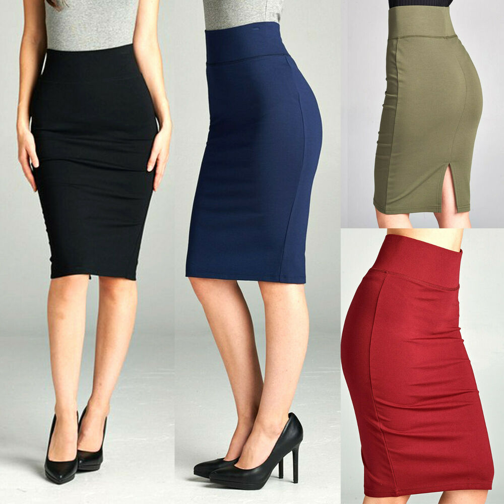 stretch knit pencil skirt high waisted below knee midi