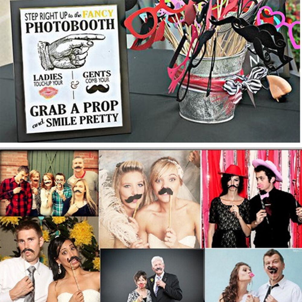 funny diy photo booth props moustaches on a stick wedding birthday xmas party ebay. Black Bedroom Furniture Sets. Home Design Ideas