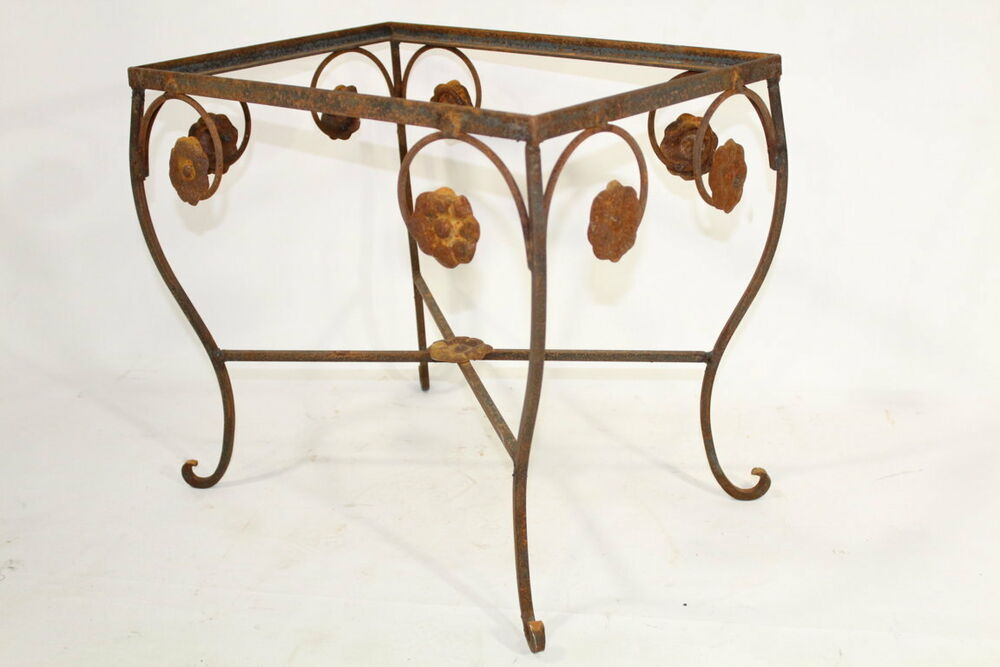 Wrought iron rectangle side table patio furniture to for Wrought iron side table