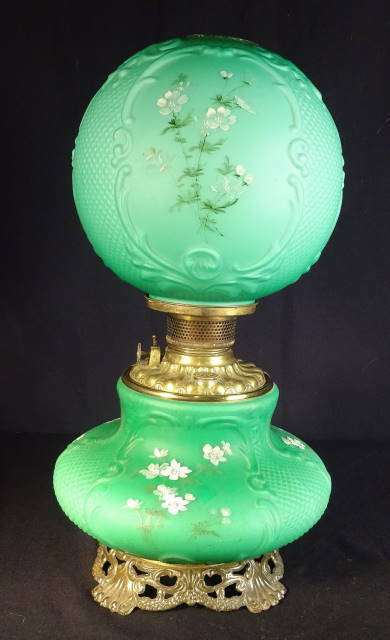 Circa 1900 Consolidated 'Fishnet' Teal Cased Glass Kero ...