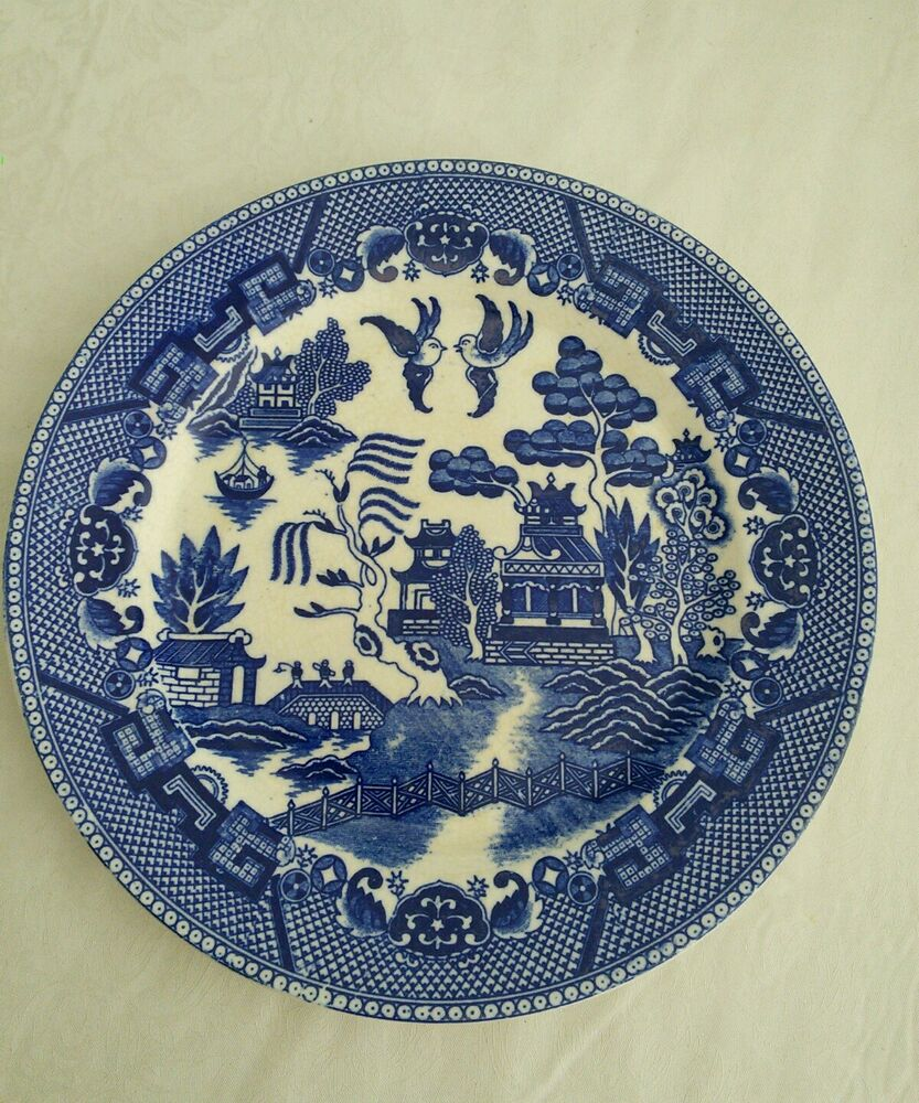 Vintage Occupied Japan Blue Willow Dinner Plate 9 Quot Blue