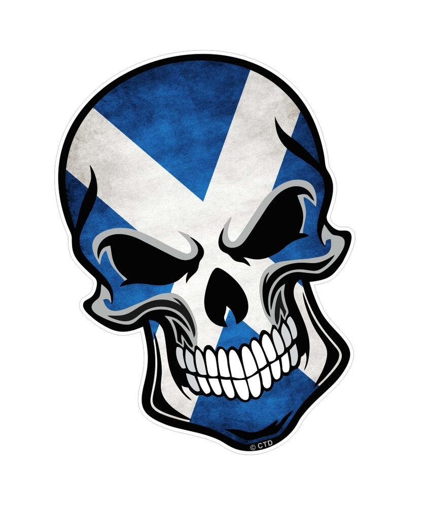 Gothic biker skull scottish saltire scotland flag vinyl car bike sticker decal ebay