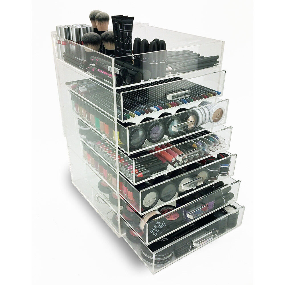 new deluxe makeup organizer acrylic 7 tier drawer cosmetic display case 793936863725 ebay. Black Bedroom Furniture Sets. Home Design Ideas