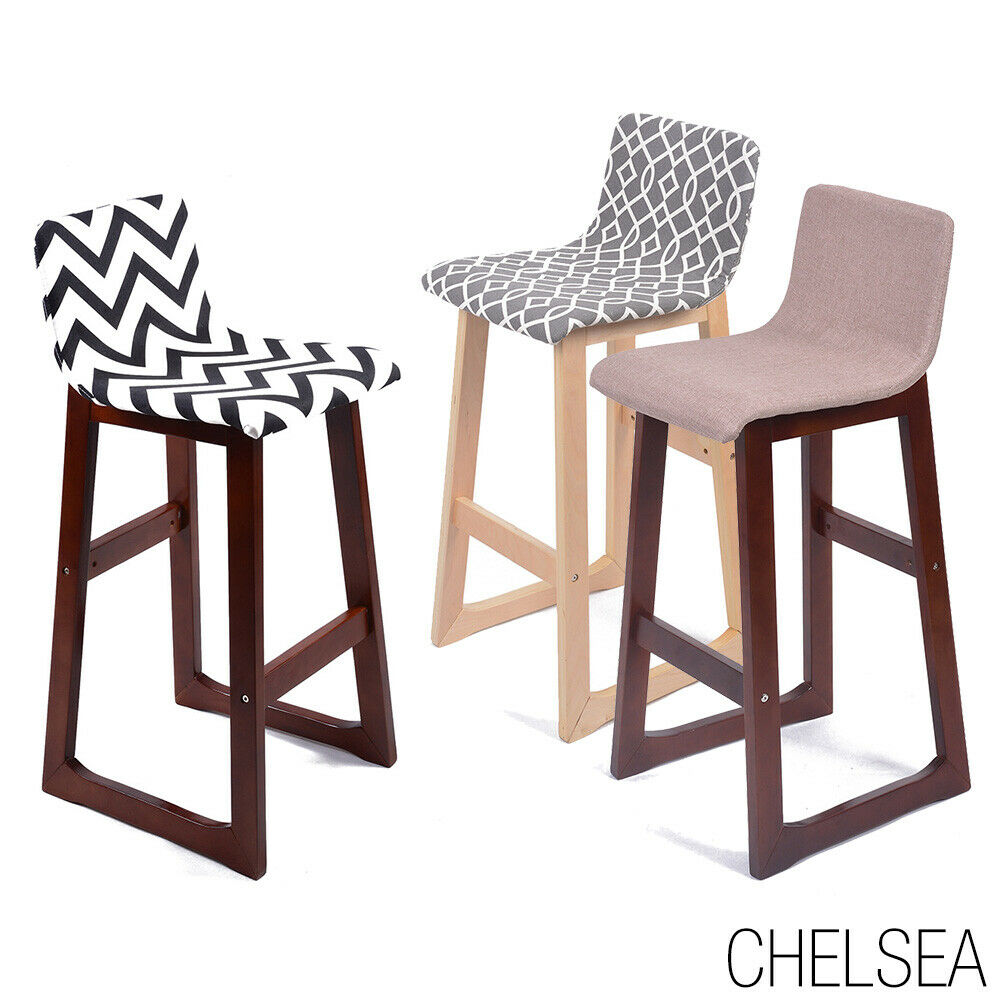 New Modern Wood Fabric Chevron Barstool 28 5