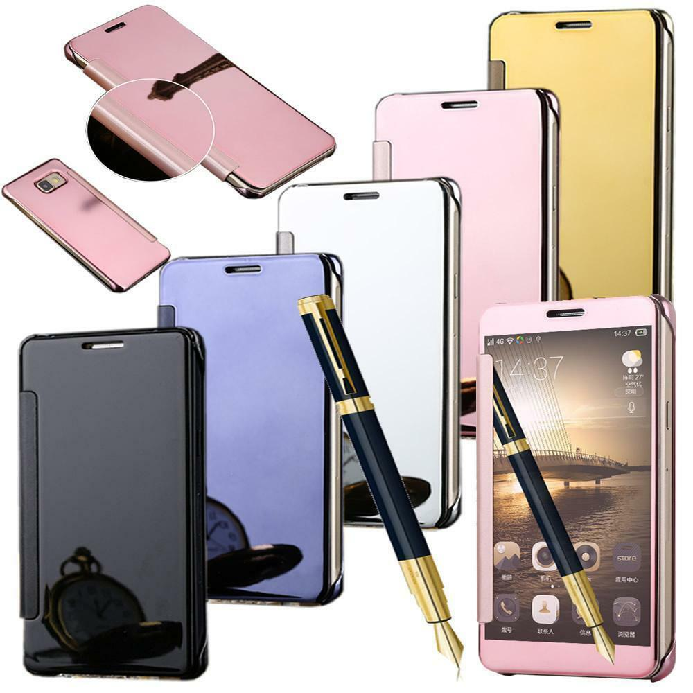 Luxury mirror smart clear view flip hard back case cover for Phone mirror