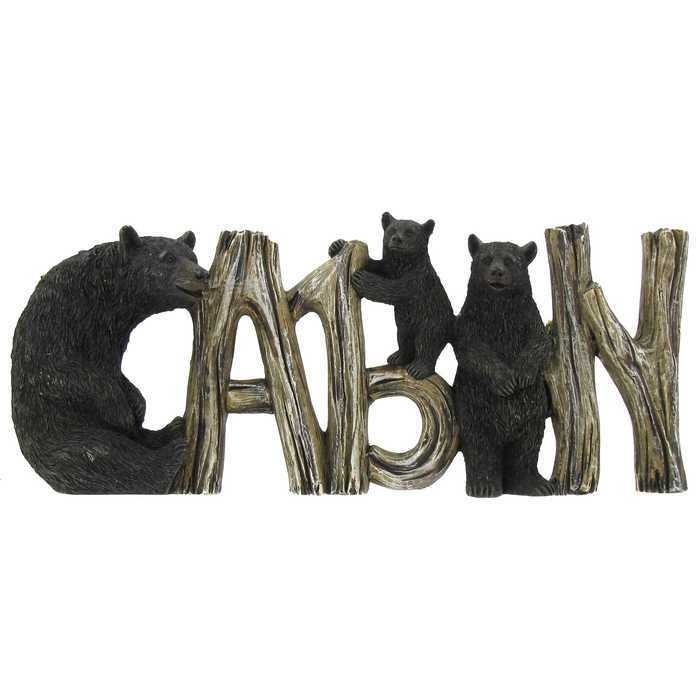 Black bear cabin sign rustic log home lodge wall art decor for Rustic bear home decor