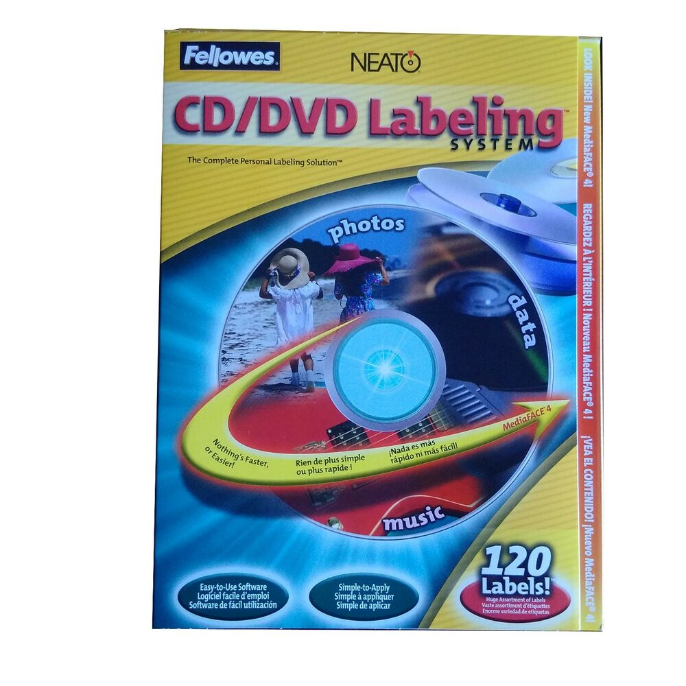 New Fellowes Neato Cd Dvd Labeling System With 120 Labels