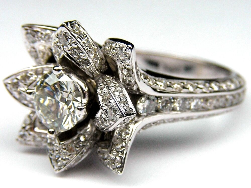 White Gold Flower Ring Diamonds