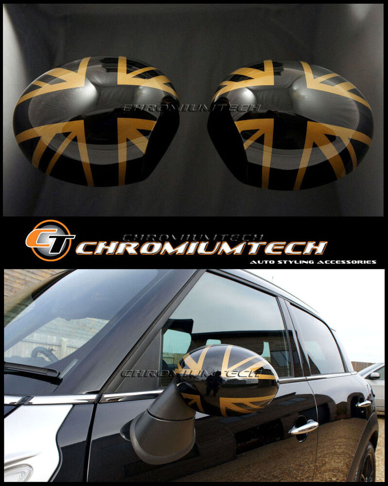 mini r55 clubman r60 countryman gold union jack mirror cap. Black Bedroom Furniture Sets. Home Design Ideas