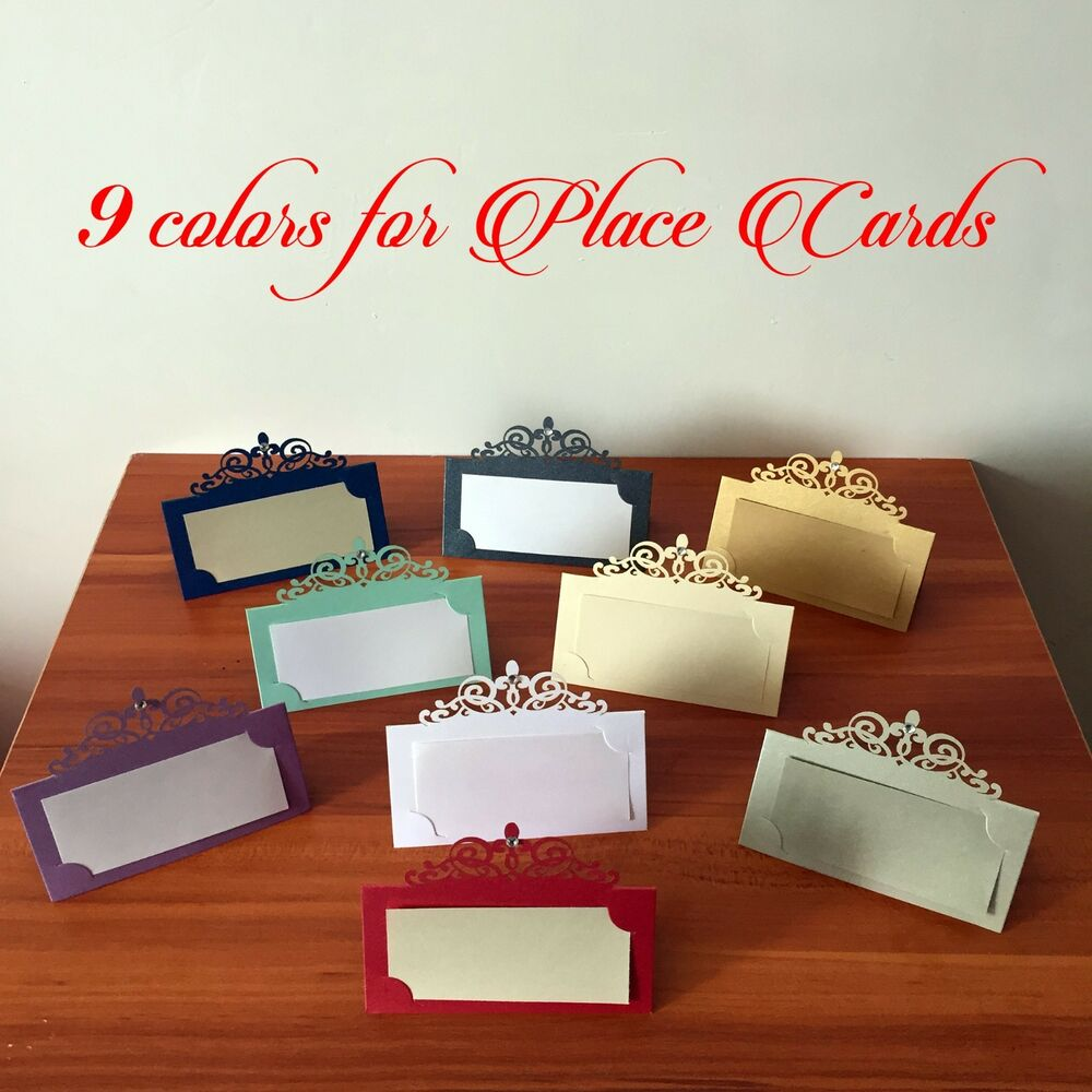 Laser Cut Out Place Name Cards Place Cards With Rhinestones For Wedding Favors
