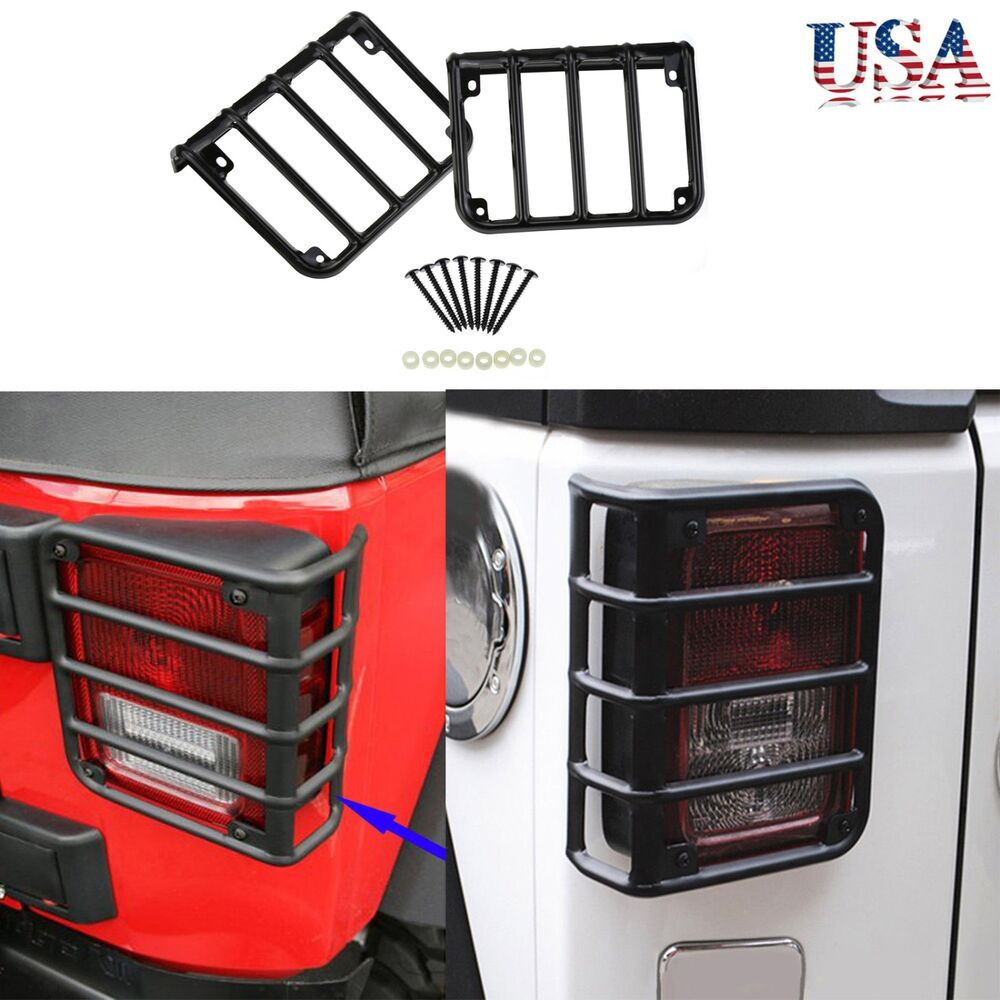 tail light guards cover rear lamps trim cover for 2007 2016 jeep. Black Bedroom Furniture Sets. Home Design Ideas