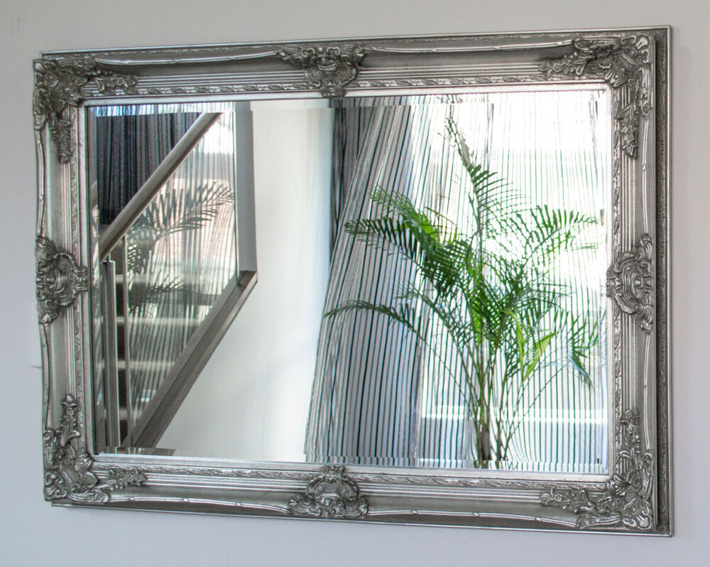Silver large bevelled wall mirror frame antique chic for Large silver wall mirror
