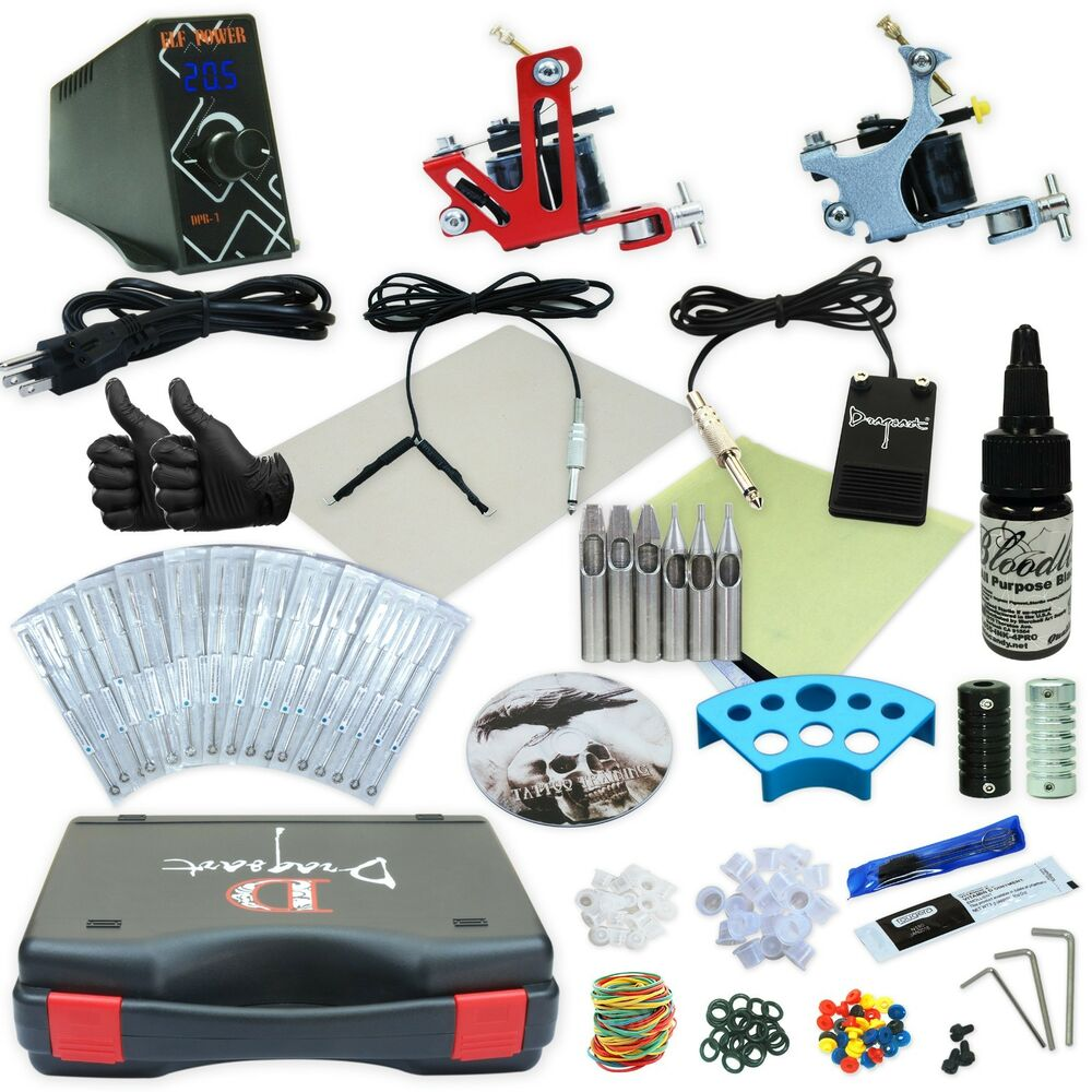 Complete tattoo kit 2 machine gun set power supply for Tattoo supplies ebay