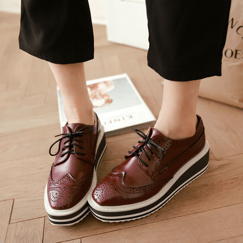 42ca31af4ef Details about Womens Brogue Wingtip Platform Creeper Lace Up Wedge College Oxford  Shoes Size