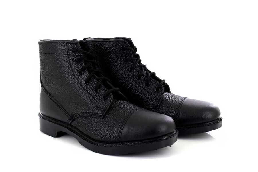 Unisex Grafters Black Grain Leather 6 Eye Cadet Military Army Boots