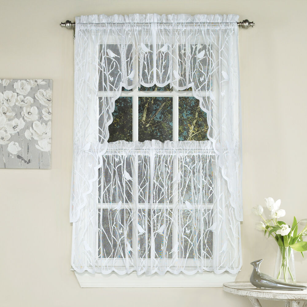 Knit Lace Bird Motif Kitchen Window Curtain Tiers Swags Or Valance White Ebay