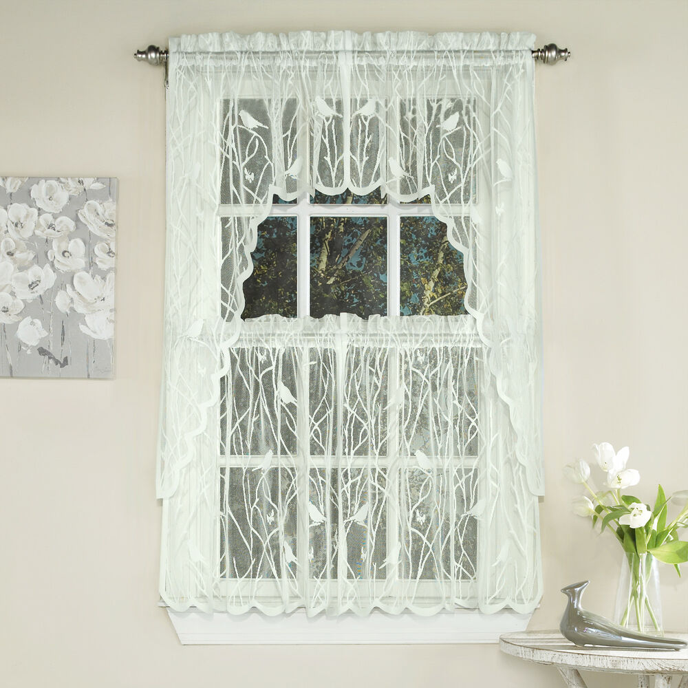 Knit lace bird motif kitchen window curtain tiers swags for Valance curtains for kitchen