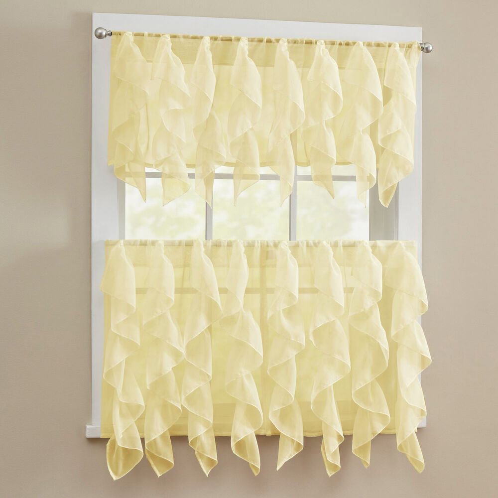 sheer voile vertical ruffle window kitchen curtain tiers