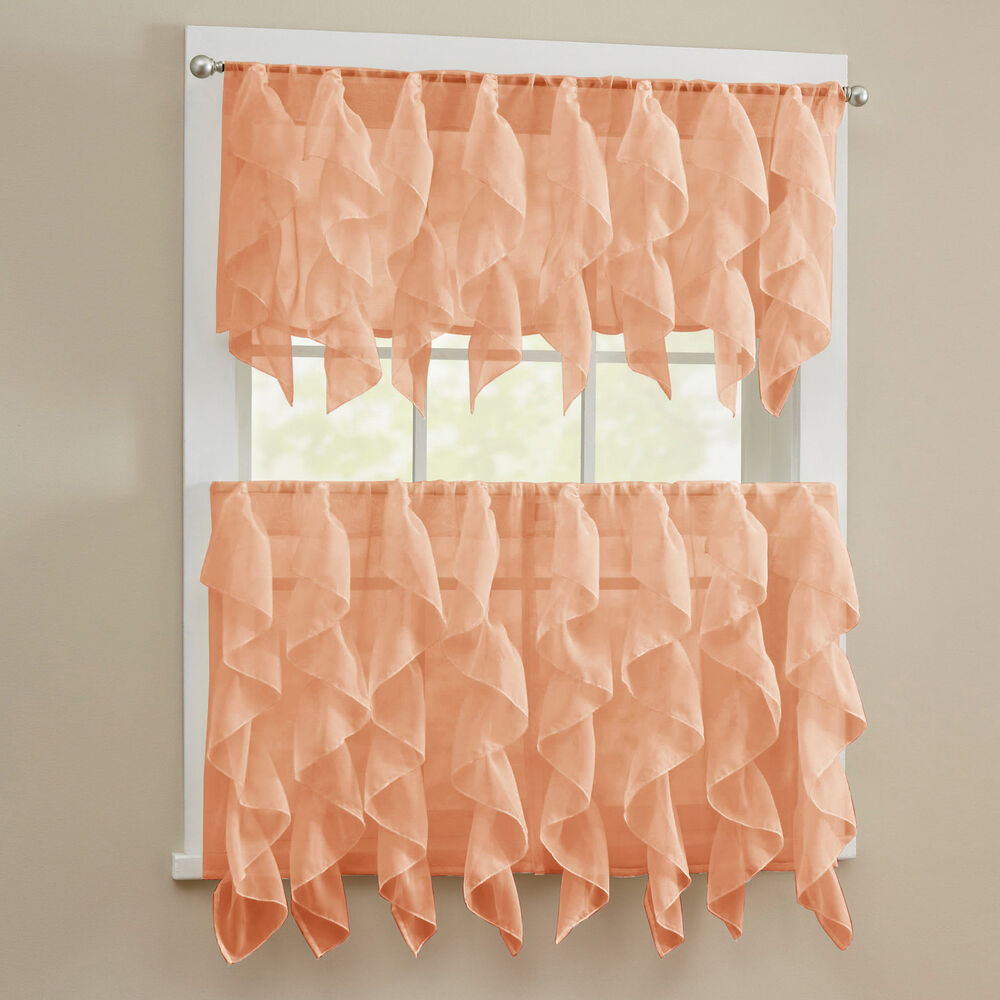Sheer Voile Vertical Ruffle Kitchen Window Curtain Tiers