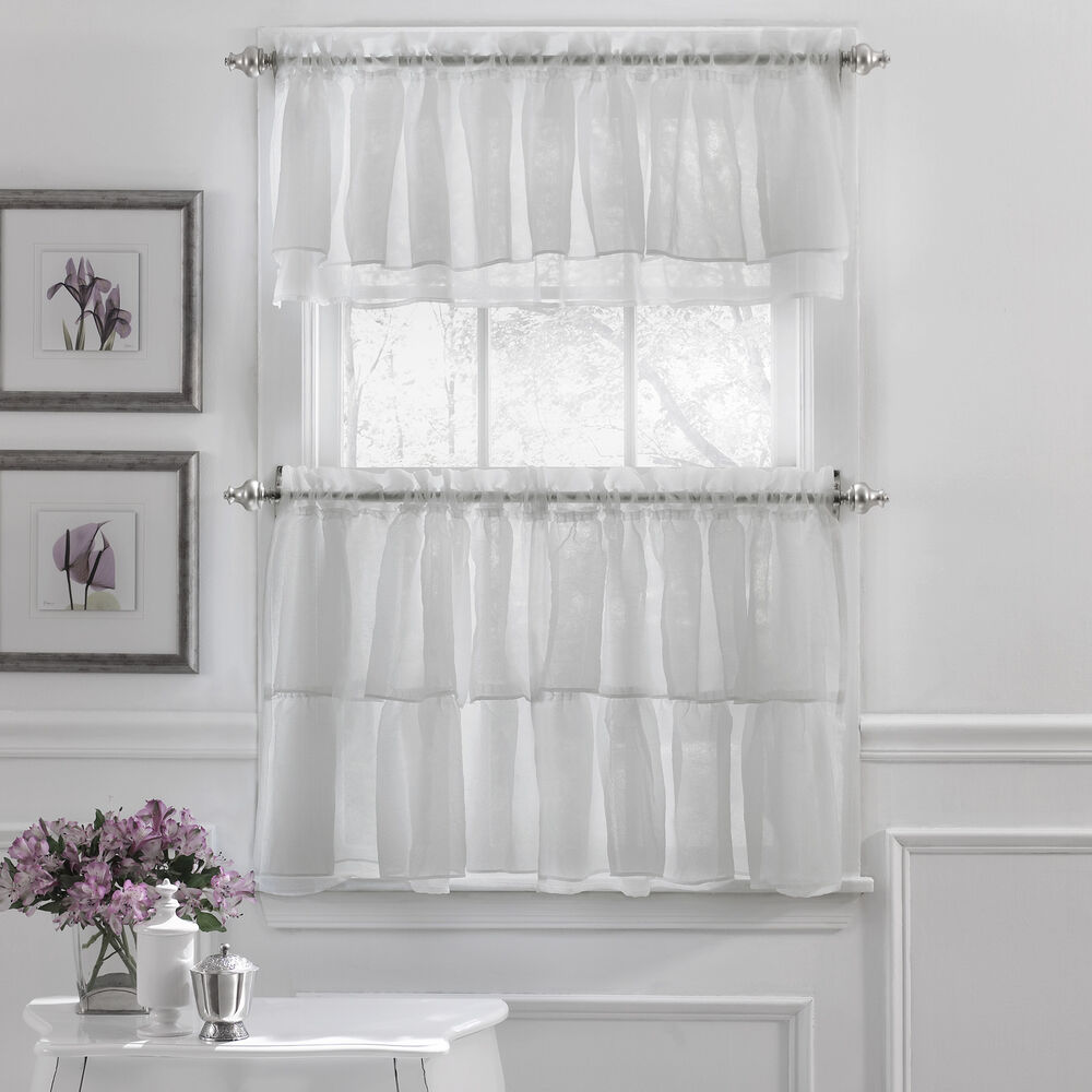 Gypsy crushed voile ruffle kitchen window curtain tiers or for Valance curtains for kitchen