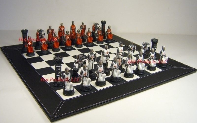 Medieval times crusades warrior red white chess set black faux leather board ebay - Medieval times chess set ...
