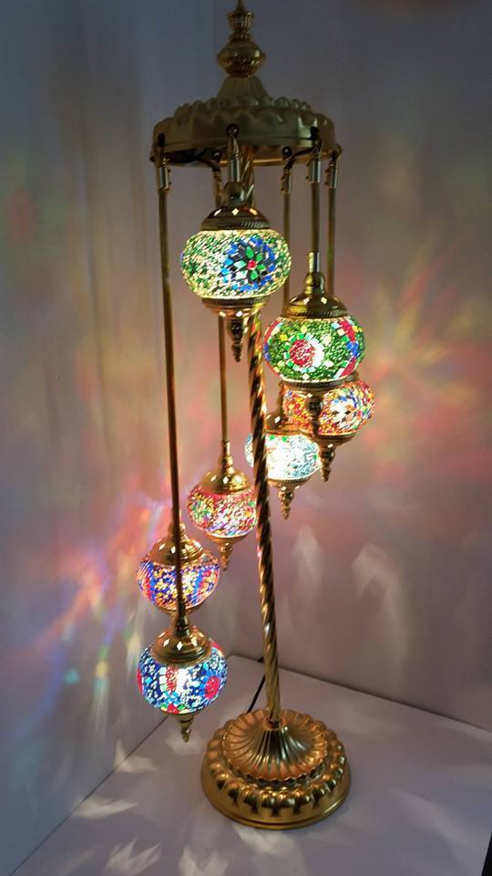 Turkish Floor Lamp Hand Made 7 Glass And Gold Moroccan