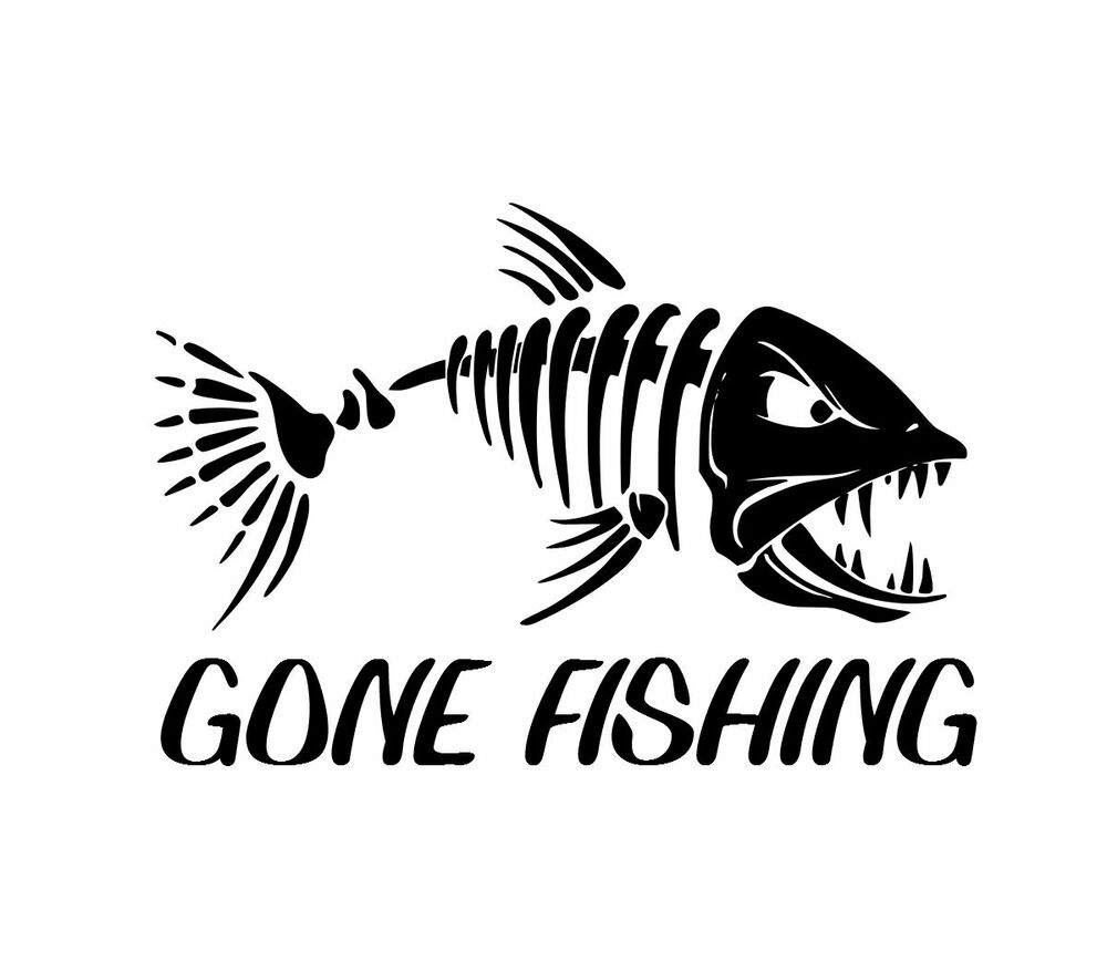 Gone fishing sticker fish reel bass lure skillet skilleton for Free fishing stickers