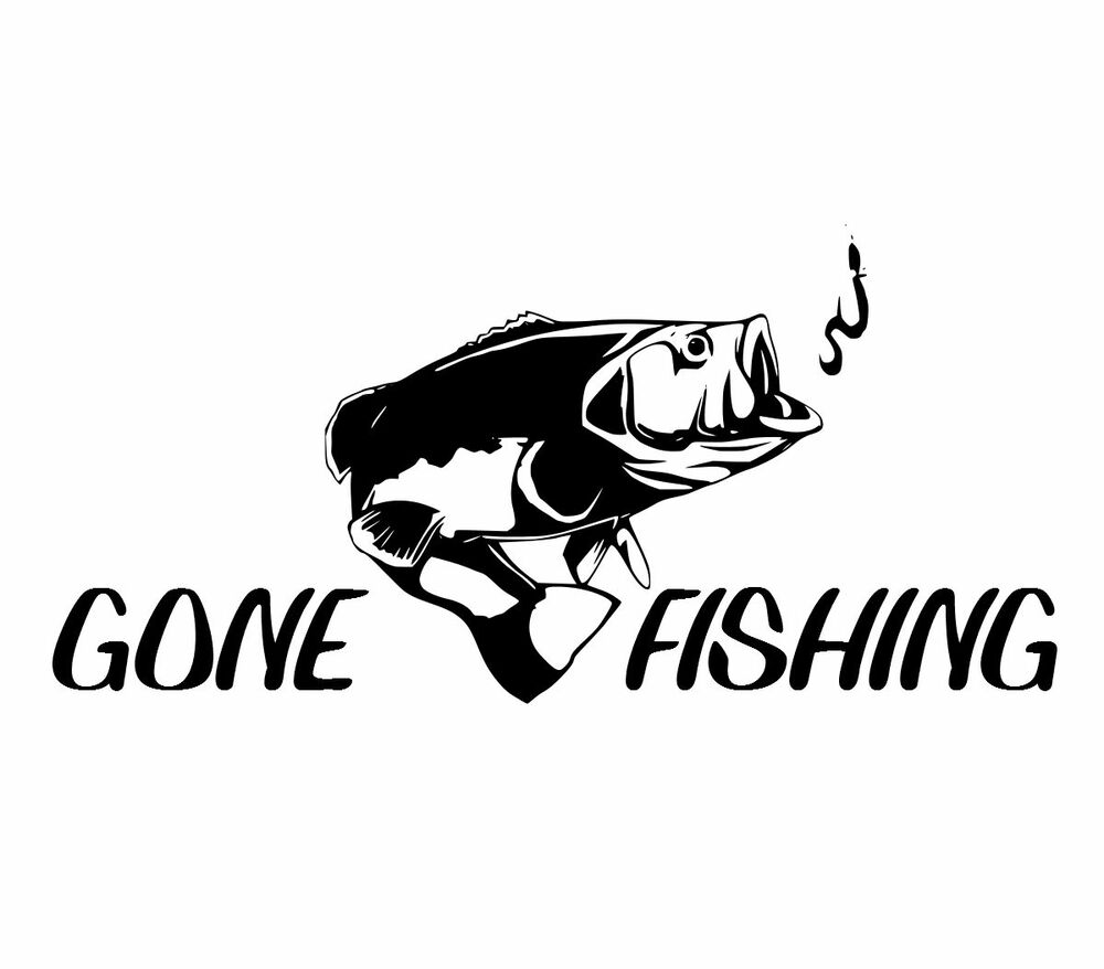 8 gone fishing bass cool decal fish car truck boat bumper for Fishing stickers for trucks
