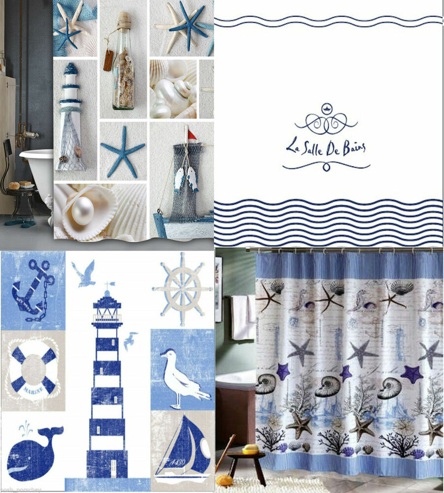 Luxury Water Nautical Beach Shells White Blue Polyester