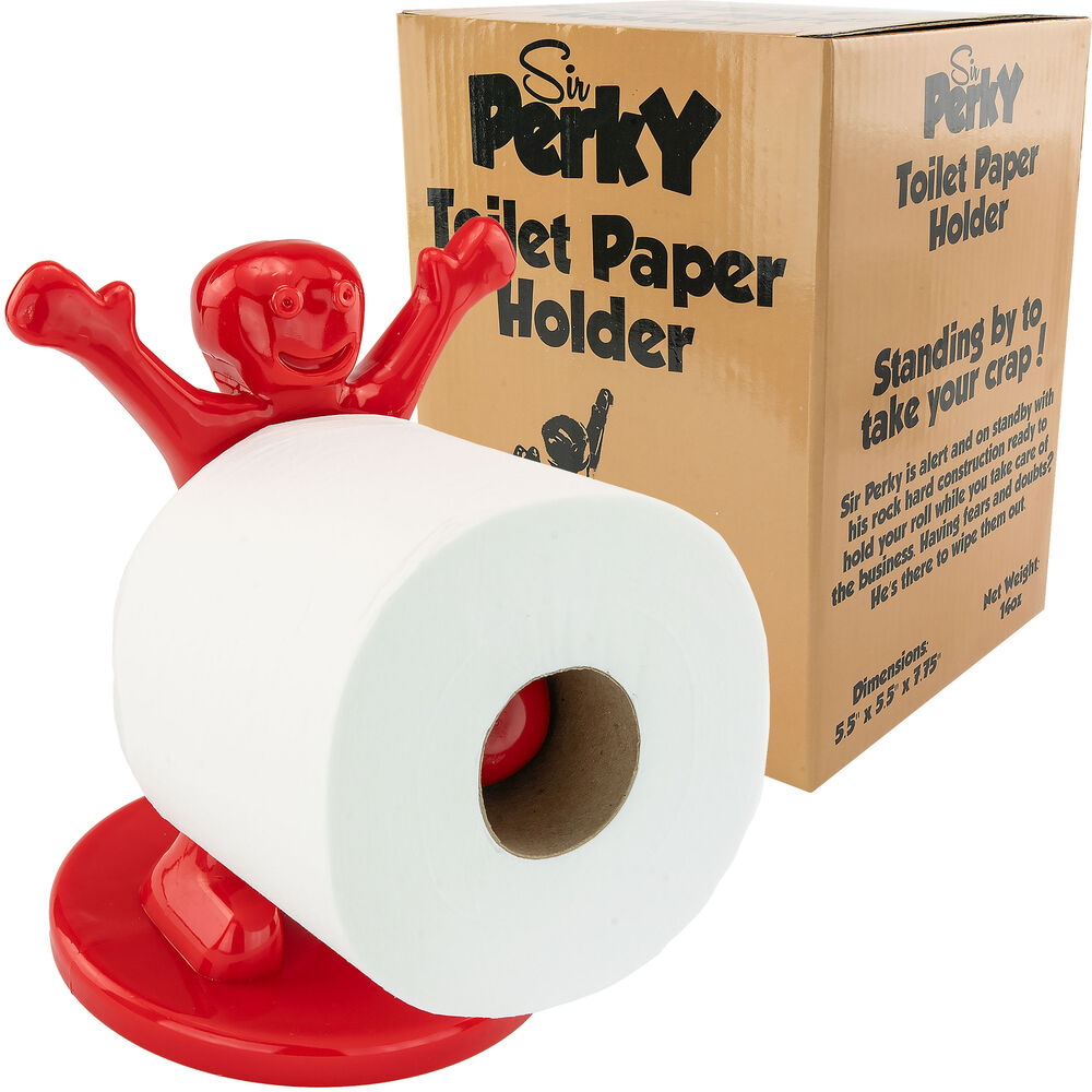 Sir Perky Toilet Paper Holder Novelty Gag Gift White