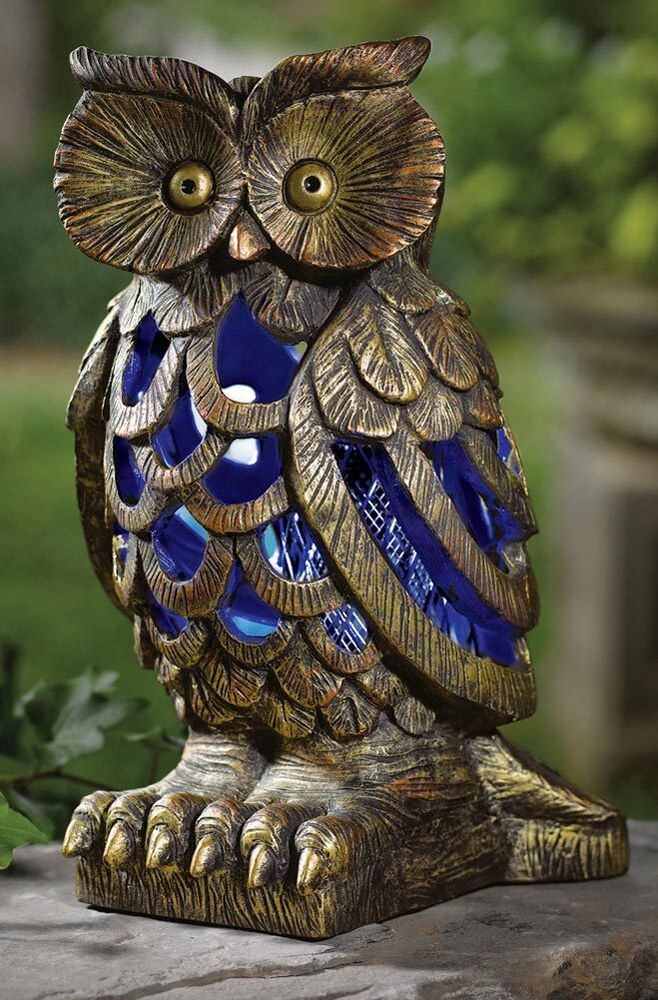 Garden owl solar light statue stop bugs yard lawn decor for Outdoor decorative items