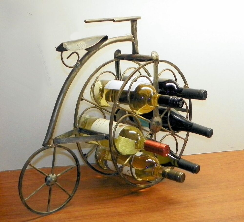 Vintage wine rack wrought iron bicycle holds 6 bottles for Old wine rack