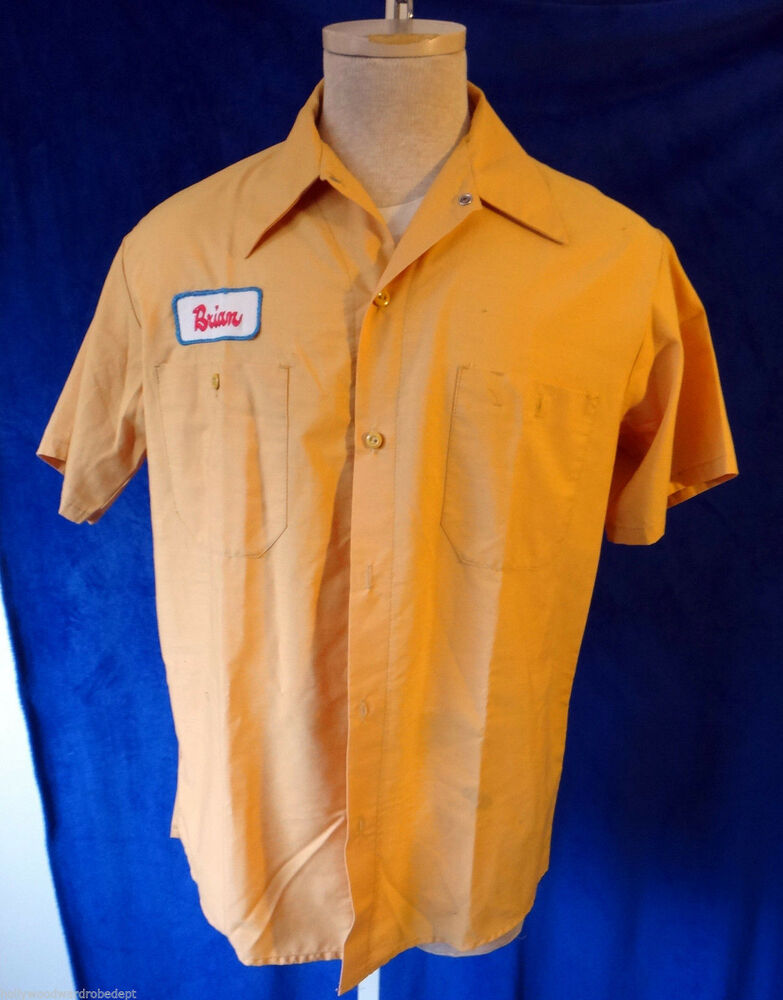 Mechanic brian name tag patch vtg mustard yellow vip for Mechanic shirts custom name patch