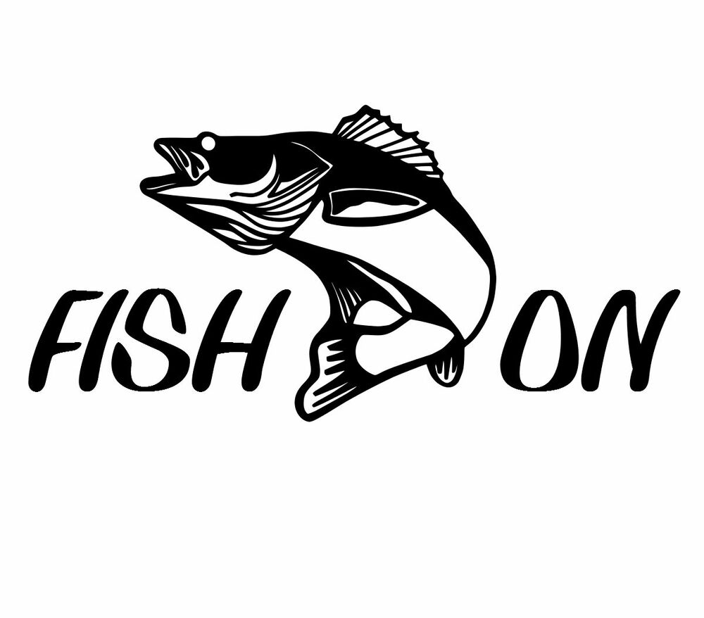 Fish on fisherman walleye decal car truck boat bumper for Fishing stickers for trucks