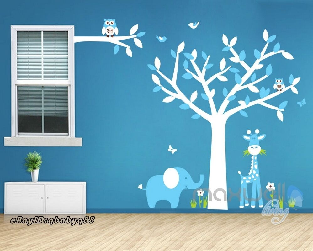 Smart owl giraffe elephant grass nursery bird tree wall for Bird and owl tree wall mural set