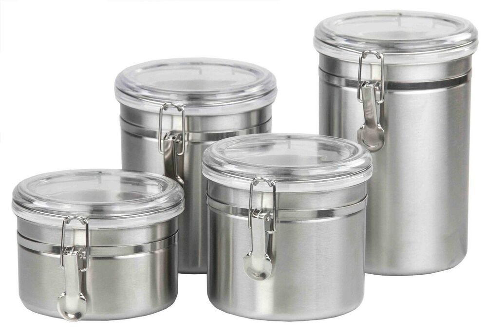 Home Basics New Stainless Steel 4pc 4 Piece Canister Food