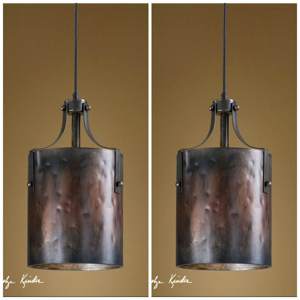 Two 16 Quot Copper Finish Hanging Pendant Lights Rustic