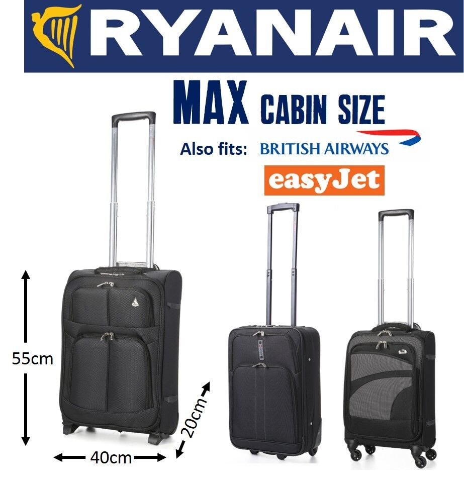 aerolite 5 cities ryanair max carry on hand cabin luggage 55x40x20 suitcase ebay. Black Bedroom Furniture Sets. Home Design Ideas
