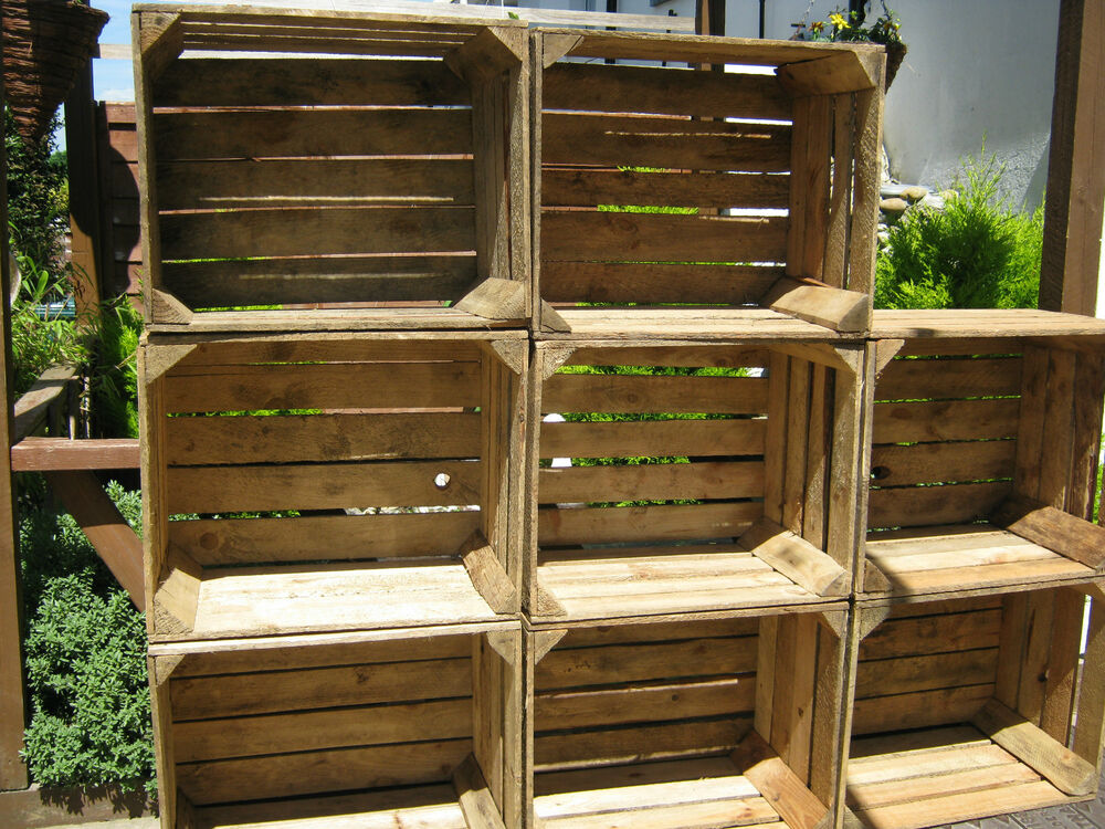 6 WOODEN APPLE CRATES STORAGE BOX FRUIT SHABBY