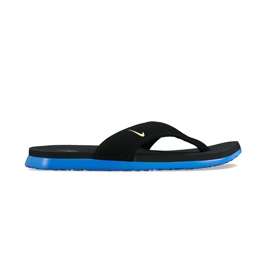 21a929d7362 NEW Men s Nike Celso Thong Plus Flip Flops Sandals Black Blue Volt 307812  074