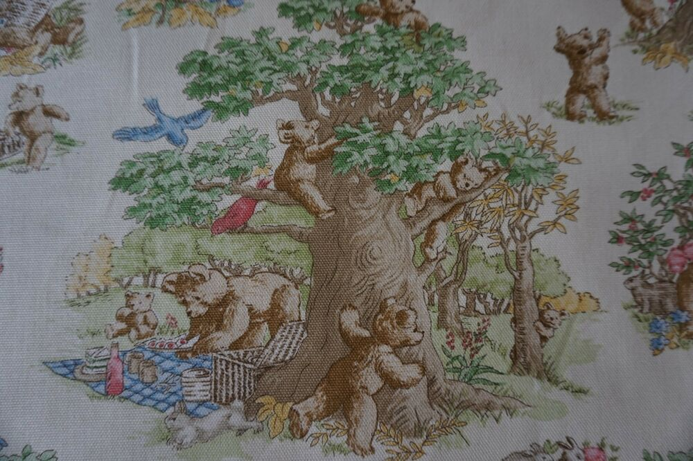 Waverly fabric bear necessities baby nursery sweet pattern for Curtain fabric for baby nursery
