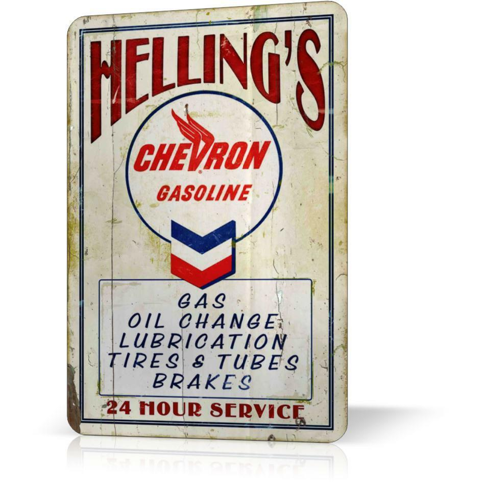 Metal Signs For Home Decor: METAL TIN SIGN CHEVRON OIL HELLINGS VINTAGE RETRO Poster