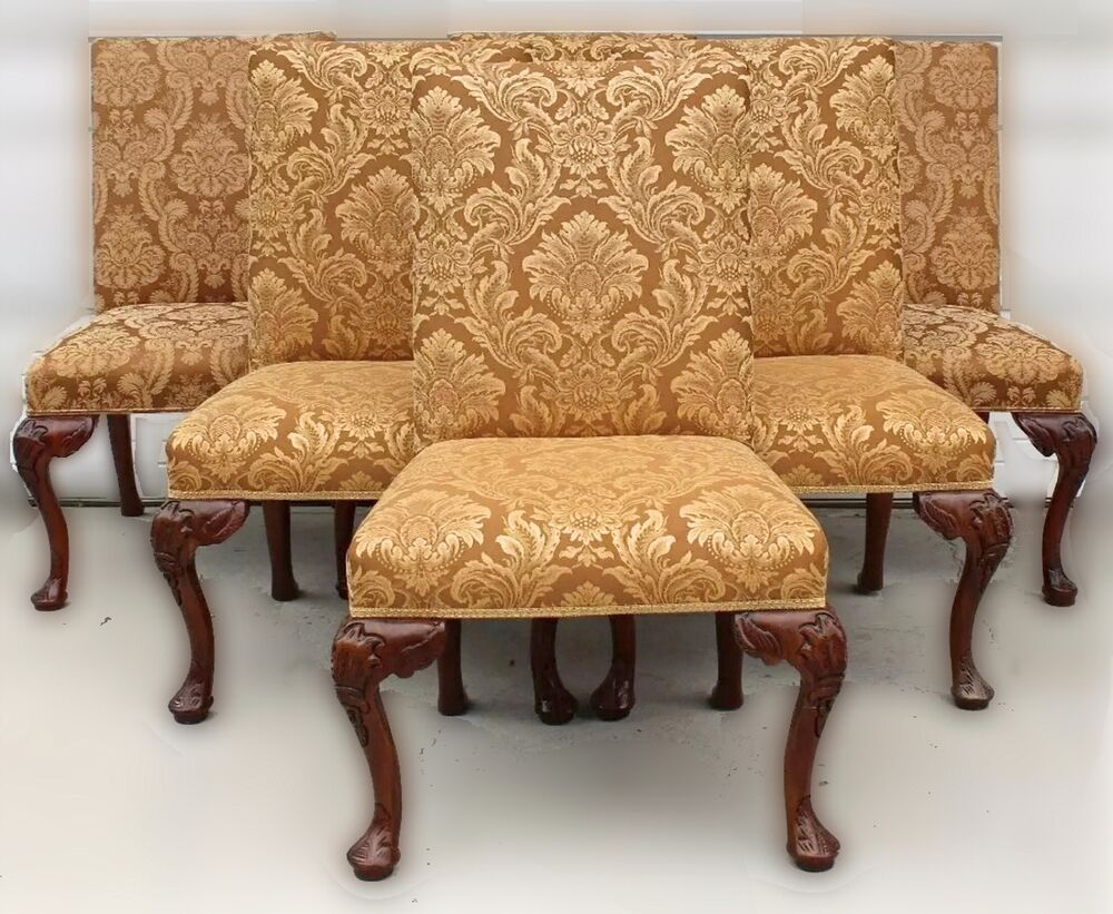 Set Of Six High Back Dining Chairs With Gold Damask