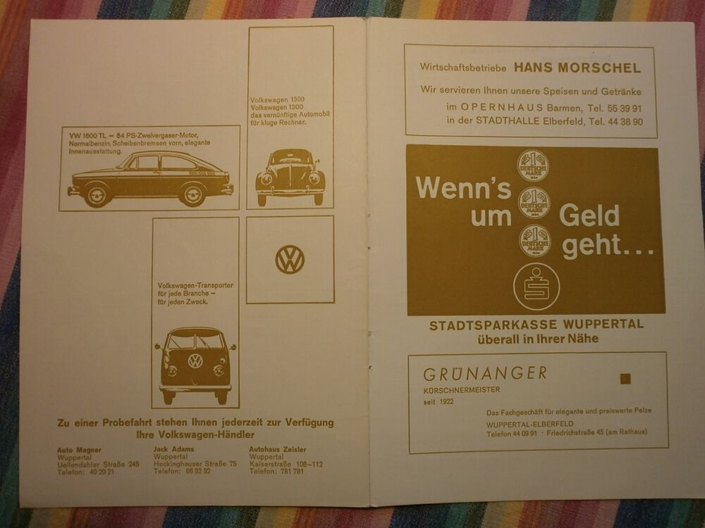 vw 1300 vw 1600 tl vw transporter t1 werbung a5 1967 vw h ndler wuppertal ebay. Black Bedroom Furniture Sets. Home Design Ideas