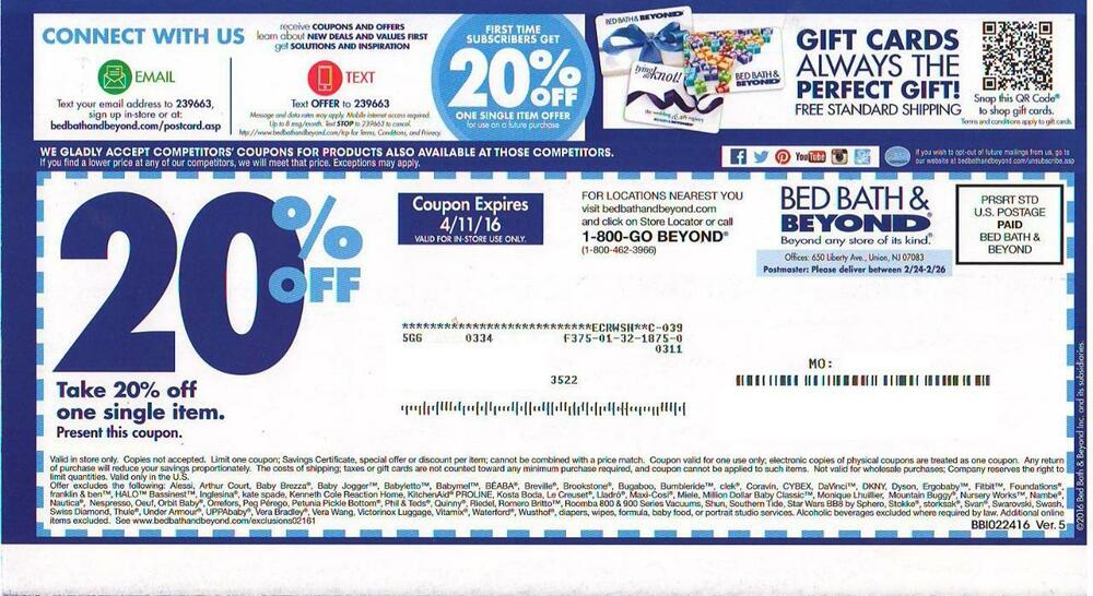 bed bath and beyond 20 off coupon 5 bed bath amp beyond 20 coupons expired ebay 13554