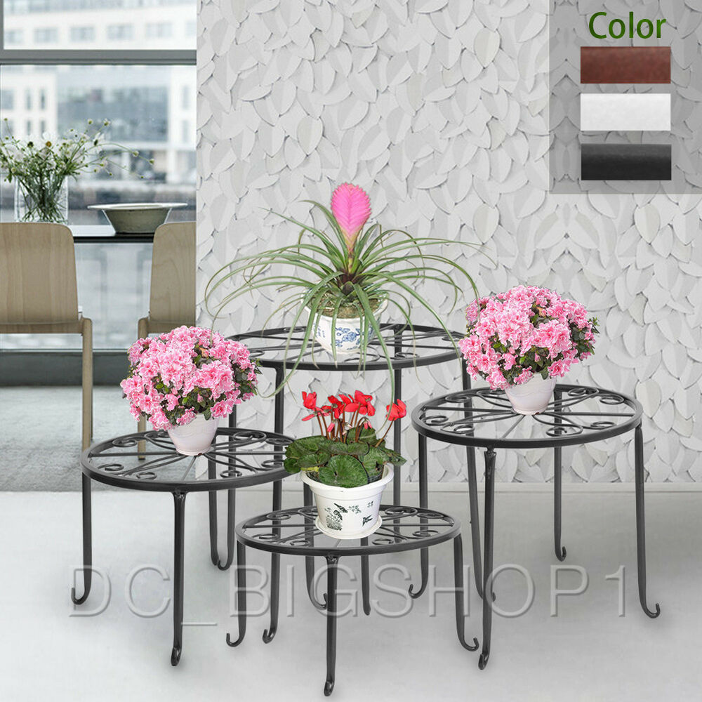 Black Wrought Iron 4 In 1 Pot Plant Stand Suit Flower Rack