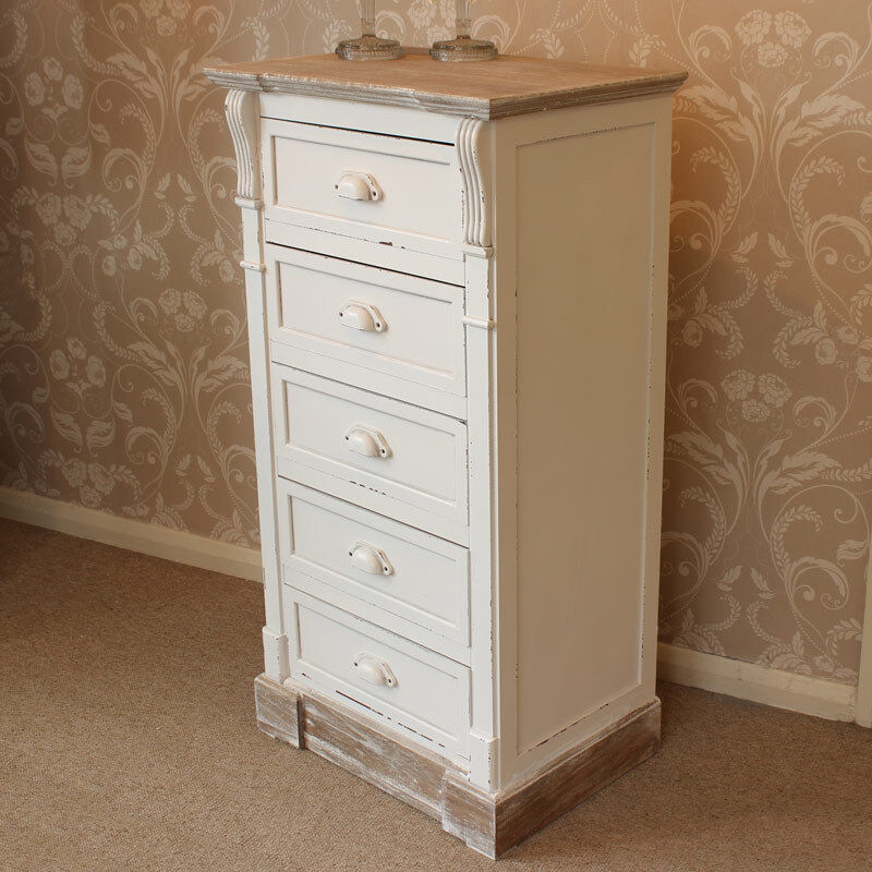 cream painted 5 drawer tallboy chest shabby french chic furniture bedroom home ebay. Black Bedroom Furniture Sets. Home Design Ideas