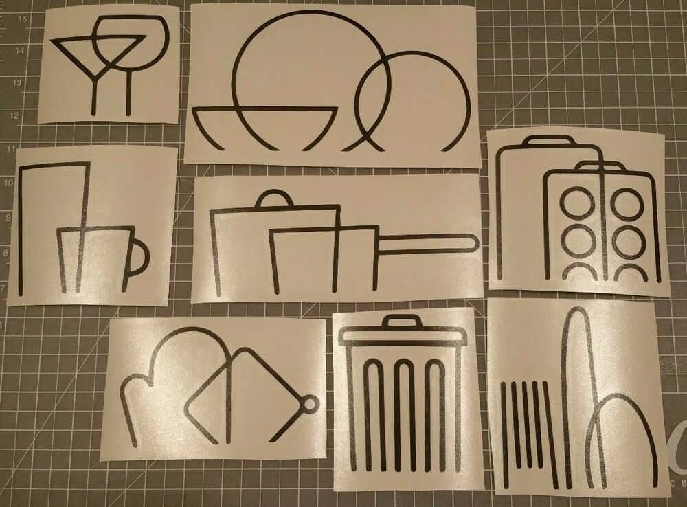 Kitchen Icon Logos Decal Vinyl Stickers Cabinet Cupboard
