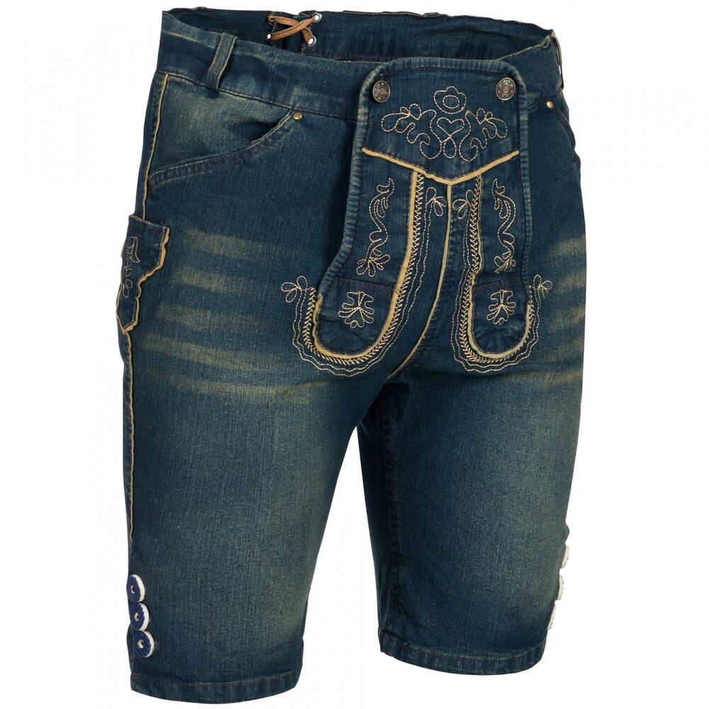 paulgos herren trachten jeans in optik trachten lederhose kurz blau ebay. Black Bedroom Furniture Sets. Home Design Ideas